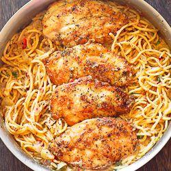 Chicken and Pasta in Creamy White Wine Parmesan Sauce