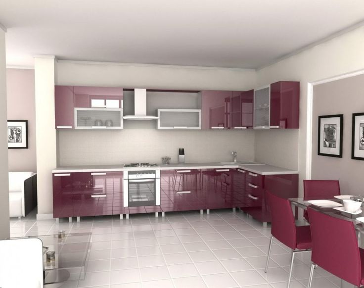 Furniture Awesome Ways to Pick the Faultless Kitchen Furniture: Lovely Modern Kitchen Design For Modern Interior Design House Ideas Also With Frame Pictures Three Purple Dining With High Gloss Finish Chest Of Drawers Dining Table And Chair Kitchen Cabinet