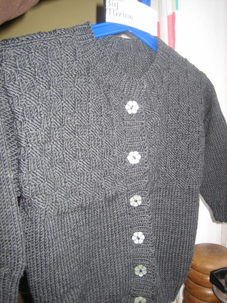 Dark grey Cardigan + flower buttons.