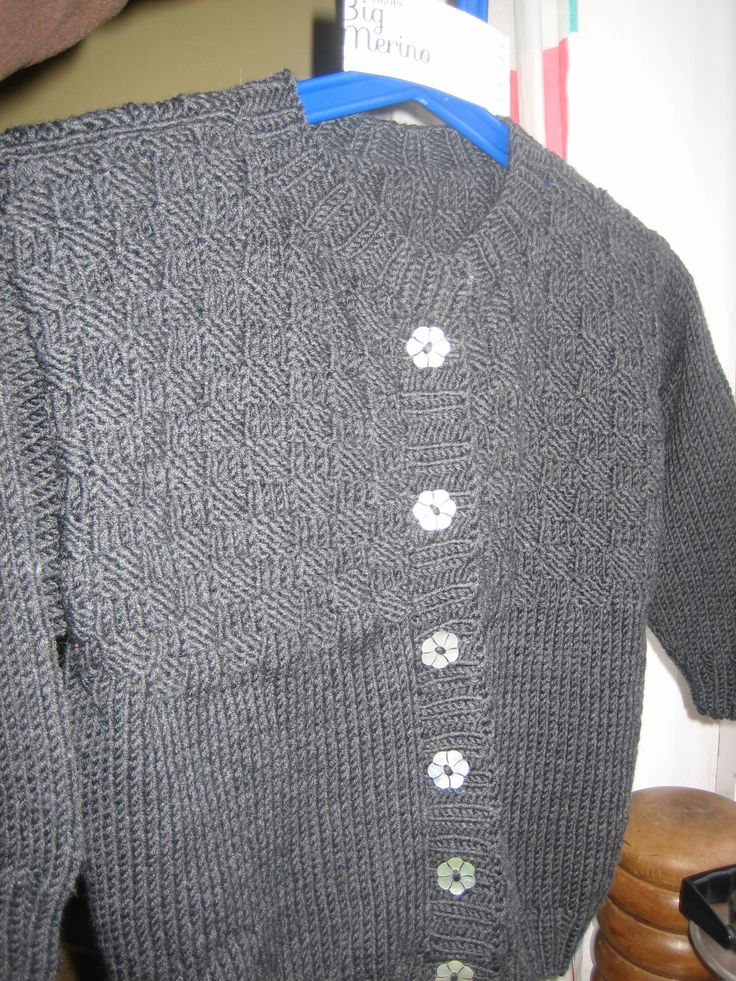 Dark grey Cardigan + flower buttons.