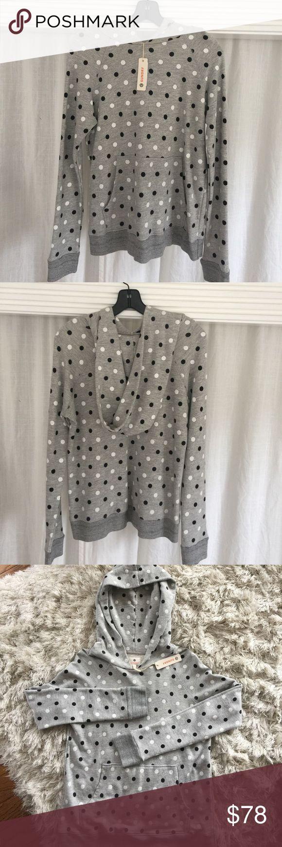 NWT sundry polka dot hoodie size small NWT polkadot sundry Hoodie size 1 (small) grey hoodie with black and white polka dots. Anthropologie Tops Sweatshirts & Hoodies