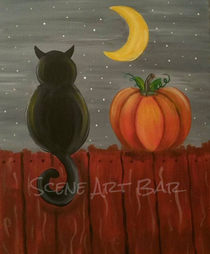 Step By Step Beginners Children's  Acrylic Painting - Black Cat On Fence with Pumpkin