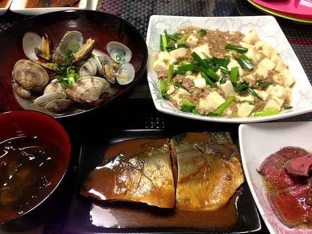 昨日買った、圧力鍋での鯖の味噌煮  骨までトロトロ✌ - 34件のもぐもぐ - 和風麻婆豆腐☆あさりの酒蒸し☆鯖の味噌煮☆ローストビーフ by megu39
