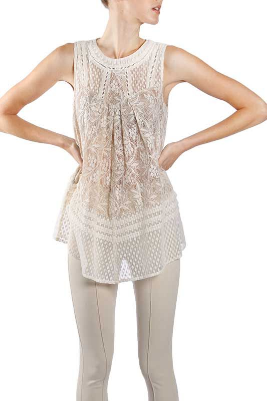 Ryu Clothing Lace Sleeveless Top in Cream