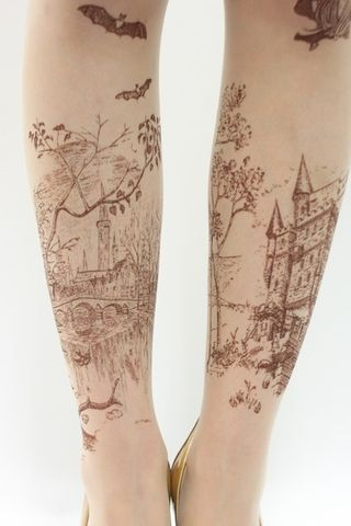 soft, illustrative landscape tattoo (unfortunately, pin didn't have the artist, but I'm searchin! These might even just be pantyhose.....)