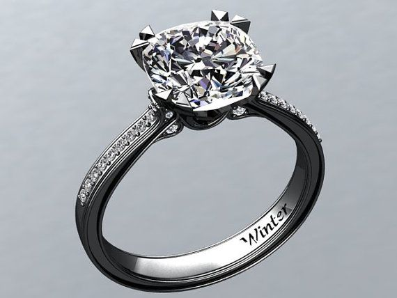 Perfect Beautiful White Sapphire Engagement Ring Made In 14k Black Gold. Inspired  By Victorian Arts.