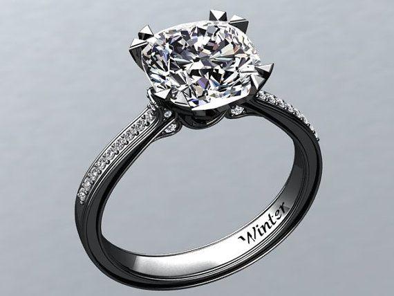 Victorian inspired 14k black gold Engagement Ring Diamond Ring 2.65 ct VVS White Sapphire W26WS14BK