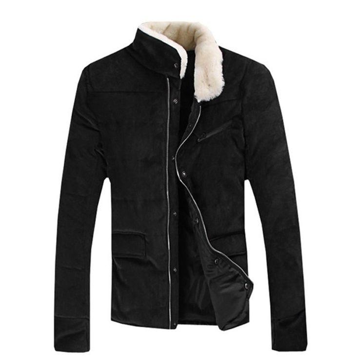 Men's Stand Fur Collar Slim Jacket