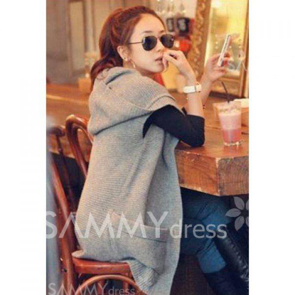 $14.76 Collarless Knitting Large Pocket Sleeveless Gray Woolen Yarn Hooded Sweater Cardigan For Women