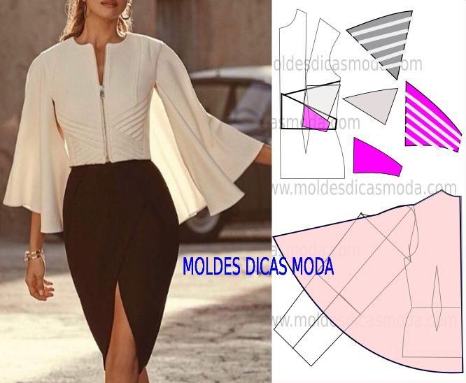 Passo a passo transformação do molde de blusa capa. Para fazer este modelo de blusa imprima o molde base de blusa e faça a gradação para o seu tamanho.