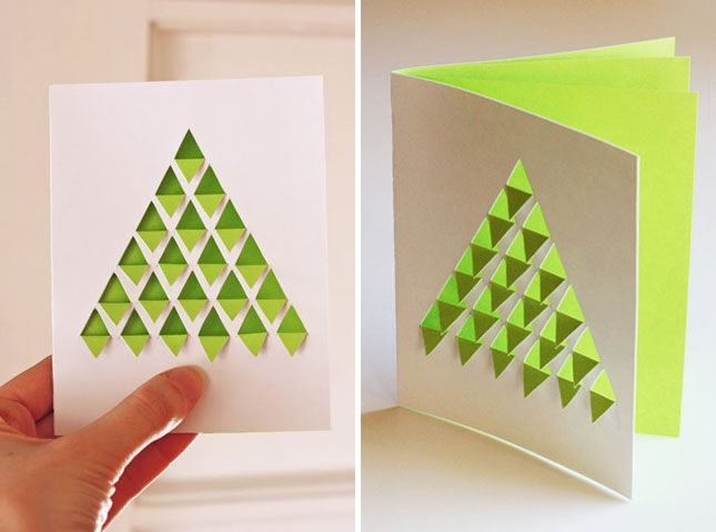 Superior Paper Craft Christmas Card Ideas Part - 12: Cool Geometric Christmas Tree Card.