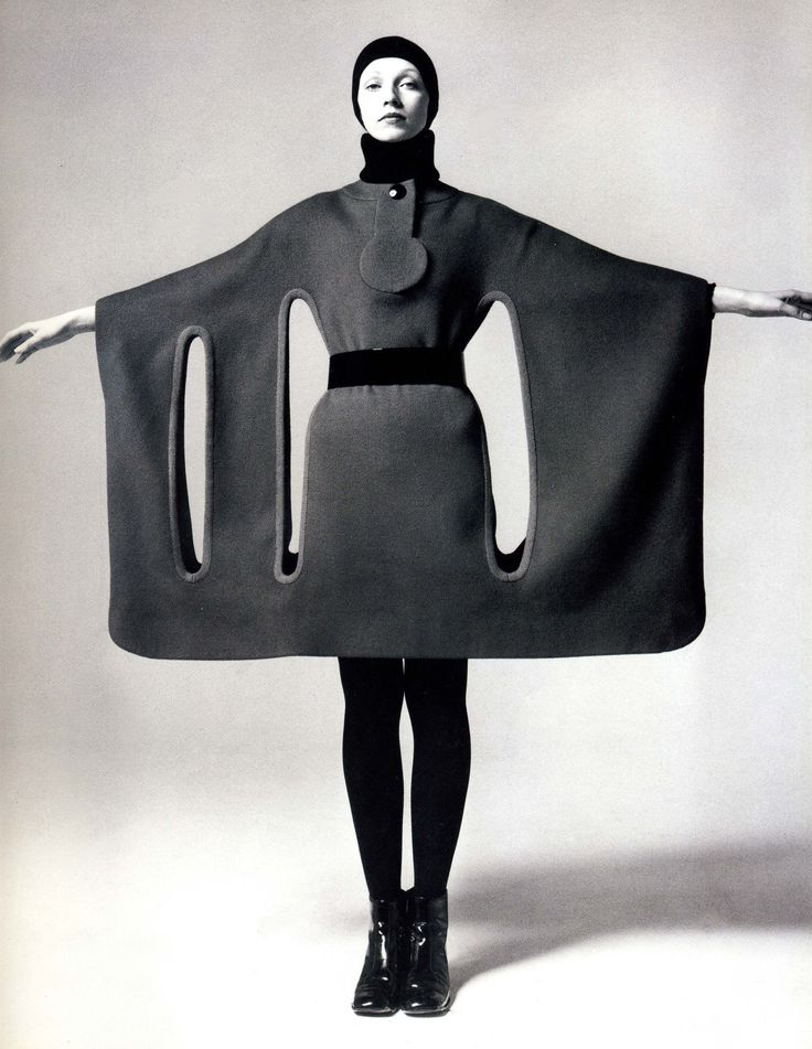 Fashion shot of a coat-dress design by Pierre Cardin, French, 1960's.