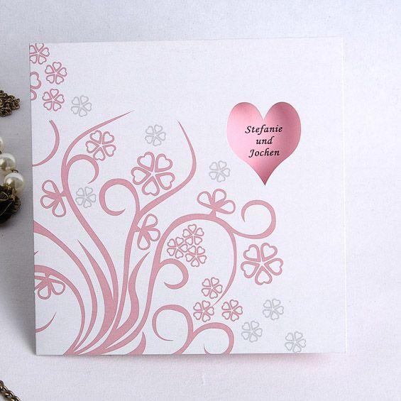 Herz Eindruck  Weiß Hintergrund mit Pink blühendem Busch Traum Hochzeitskarten