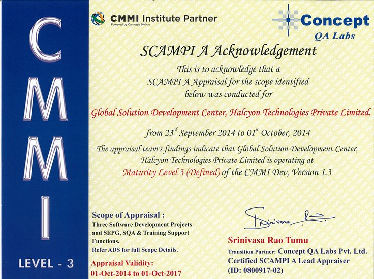 #Halcyon Technologies has achieved the Capability Maturity Model Integration (CMMI) Maturity Level 3 (Defined) of the #CMMI Dev,Version 1.3.