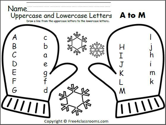 Free Mitten Match Uppercase Lowercase Letters Worksheet
