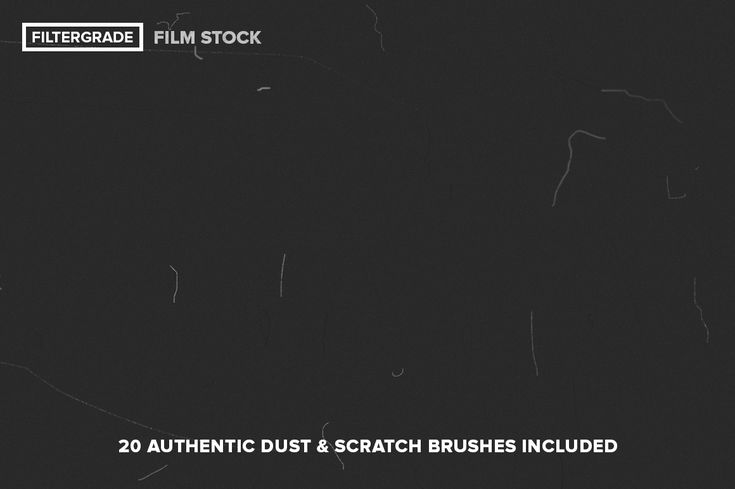 The amazingly authentic dust and scratch brushes included in FilmStock. Each brush is 2500px and each to use.