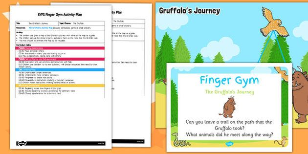 EYFS The Gruffalo's Journey Finger Gym Activity Plan and Prompt Card Pack
