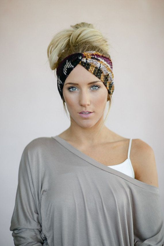 Printed Twist Headband, Women's Head Wrap, Fabric Hair Wrap, Fashion Hair Accessories, Printed Jersey Turband in Tribal (HB-3847), $28.00