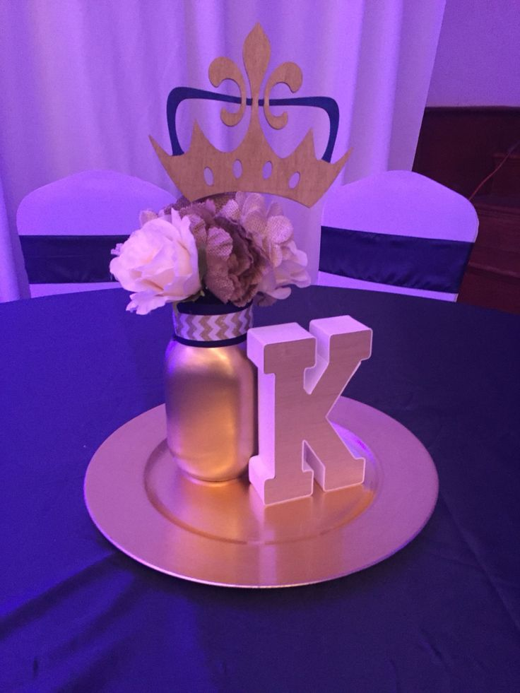 Centerpieces Birthday Tables Ideas 40th birthday party balloon decorations birthday table decorationsideas Crown Centerpiece With Flowers Fleur De Lis Crown Ms