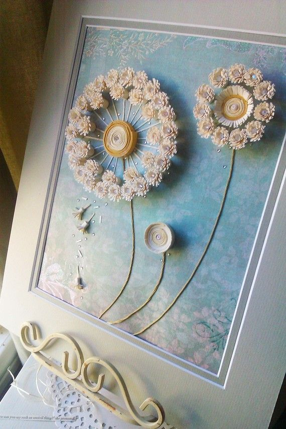 dandelion paper quilling artwork with matting by ThePrettiesStore: