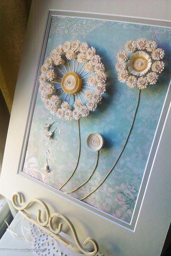 dandelion paper quilling artwork with matting by ThePrettiesStore: