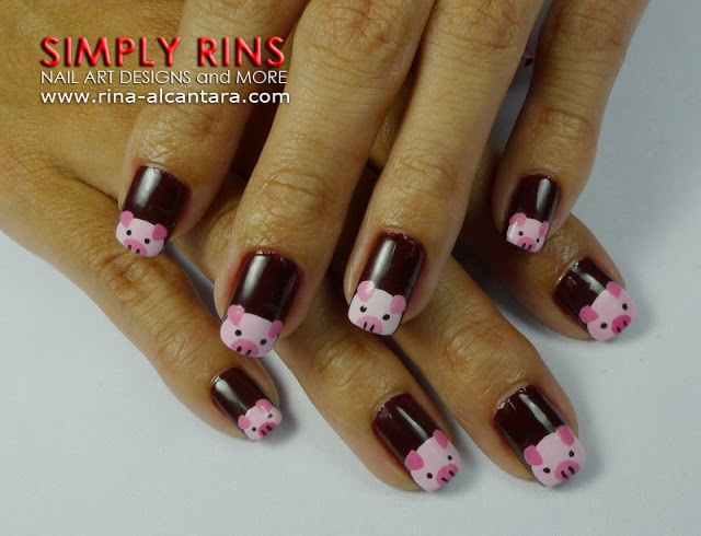 Little Pink Pigs Nail Art Design 03