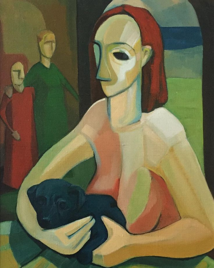 Woman With Black Dog #oilonlinen #SandroNocentini #memorylane