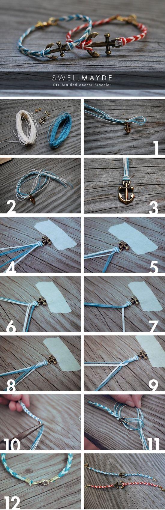 DIY braided anchor bracelet.