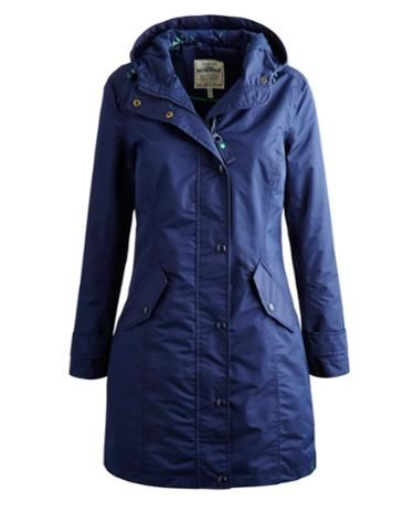Joules Womens Longline Waterproof Coat, French Navy.                     This jacket is part of our Right as Rain collection and our range that we've designed for the National Trust.  Created with good old Blighty weather in mind it's fleece lined and has a PU coating and taped seams to make it 100% waterproof.  We love the colour pop details, two-way zip and the unique print that we created specifically for the collection.