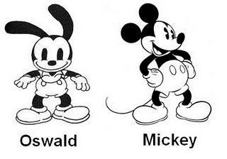 """""""Disney Brothers' Studio creo a Oswald en 1927. Era el protagonista d Oswald el conejo afortunado, cuyos derechos pasaron a perternecer a Universal Pictures en 1928 debido a un desacuerdo entre Walt Disney y Charles Mintz. Tras perder los derechos sobre Oswald, Disney optó por crear al famoso Mickey Mouse, es x eso q Oswald es el antecesor d Mickey y se le parece tanto."""""""
