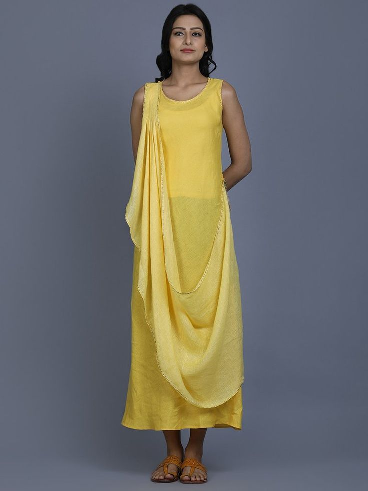 Yellow Linen Long Santorini Dress
