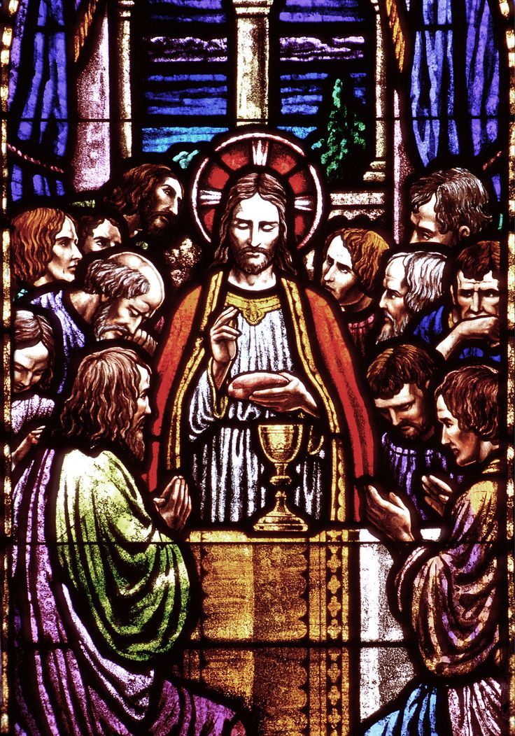 This Is A Stained Glass Window Of The Last Supper Showing