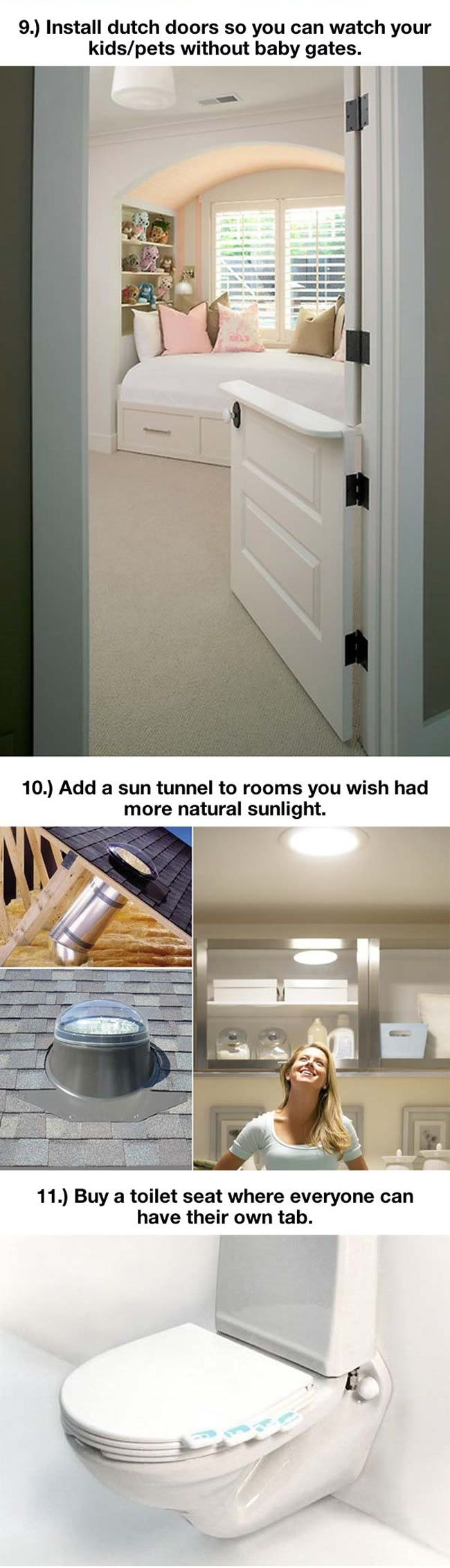 Smart ideas for the home. Recessed outlets, Dutch (half) doors, toilet seat with multiple seats, creative ways to use space.