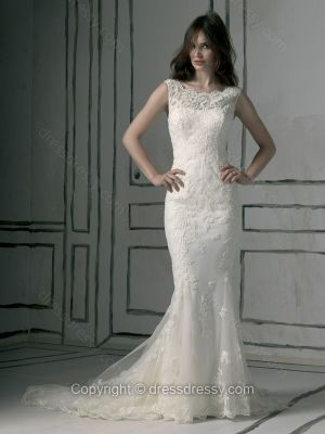 Trumpet/Mermaid Off-the-shoulder Lace Satin Chapel Train Ivory Buttons Wedding Dresses