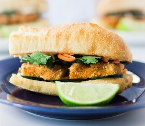 Vegan Banh Mi with peanut crusted tofu. | Finding Vegan