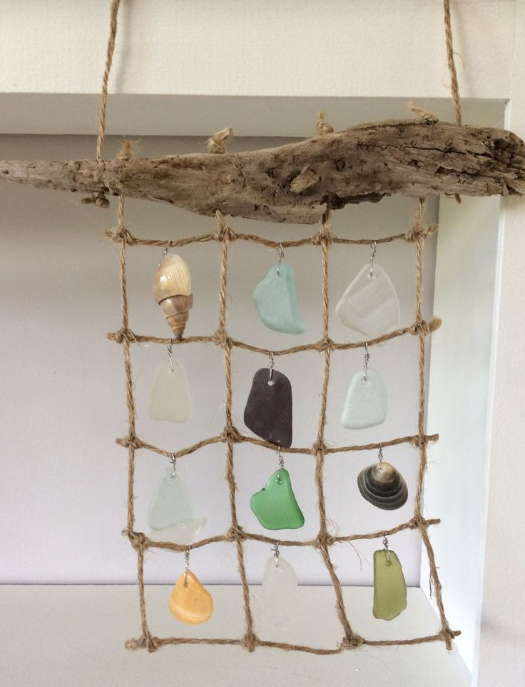 Mermaid curtain with sea glass, driftwood and shells