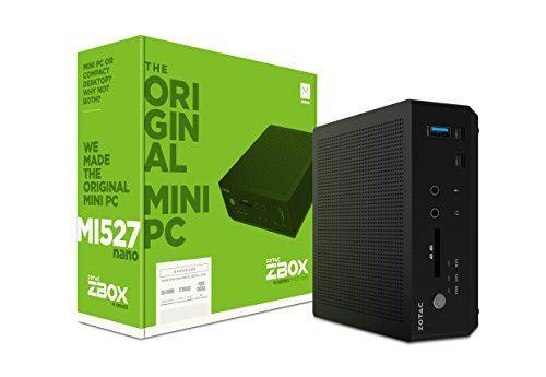 ZOTAC ZBOX-MI527NANO-U ZBOX M Series Mini PC 7th Gen Core i3-7100U CPU Intel HD Graphics Barebones System  7th Gen Intel Core i3-7100U, dual core 2.4 GHz/Intel HD Graphics 620  Drive & Memory: 1 x 2.5-inch SATA 6.0 Gbps HDD/SSD slot, 2 x 260-pin DDR4-1866/2133 SODIMM Slot (up to 32GB)  Video Output: HDMI 2.0 (3840x2160 @ 60Hz), DisplayPort 1.2 (4096x2160 @ 60Hz)  Intel Clear Video HD technology, Intel Quick Sync Video technology, Native 4K output, Microsoft DirectX 12 compatible, HDCP ...