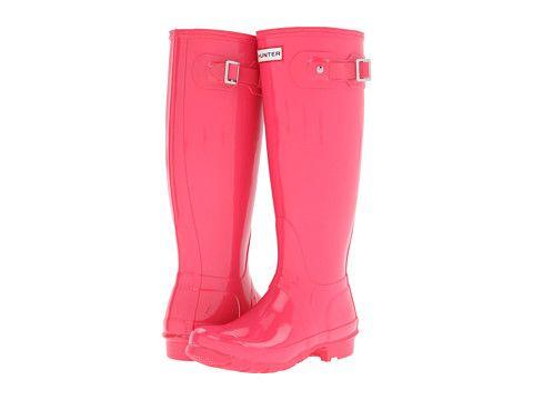 $140 [hunter original high gloss rain boots - crimson pink // zappos.com] #fashion #shoes