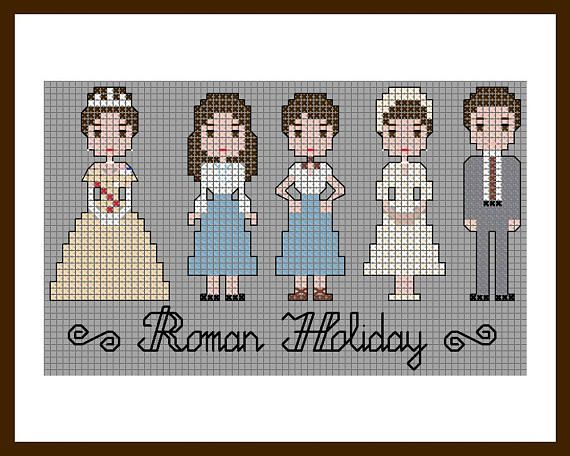 A cute PDF cross stitch pattern of Audrey Hepburn and Gregory Peck in Roman Holiday. Best costumes from this classic 1950s movie with two alternate colors for the skirt. A romantic gift for those who love old Hollywood movies and stars/actors/characters.  Dimensions: 75x45 stitches / 5x7 inches. 15 colors. Technique: cross stitch, backstitch, French knots.  The PDF fle includes: - patterns; - a DMC color chart; - reference photos; - text notes.