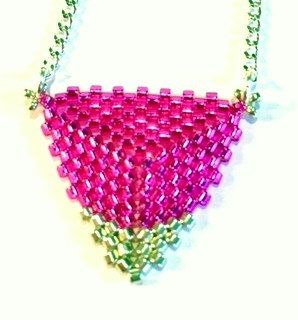 """An Elegant Hand Beaded Triangle """"Bunting"""" Necklace in Hot Pink and Silver by LetsGetBusyBeading on Etsy"""