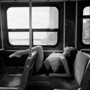 Dancer on a bus. Bus trip. Dancing through life. Daydream dance.