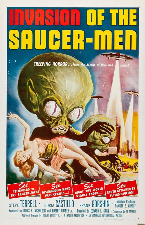 Invasion of the Saucer-Men - Horror Sci-Fi Movie Vintage Poster