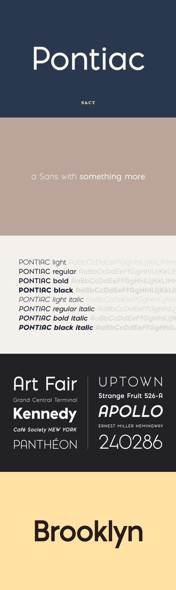 Pontiac is a sans serif OpenType font designed by Fanny Coulez and Julien Saurin in Paris. Somewhere between Akzidenz Grotesk and Neutra, Pontiac is a functional font with something more, something warm, geometric but human, something distinctive, something French finally.