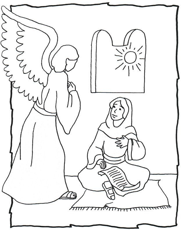 Annunciation And Visitation Coloring Pages Bible Crafts Christmas Sunday School Sunday School Preschool