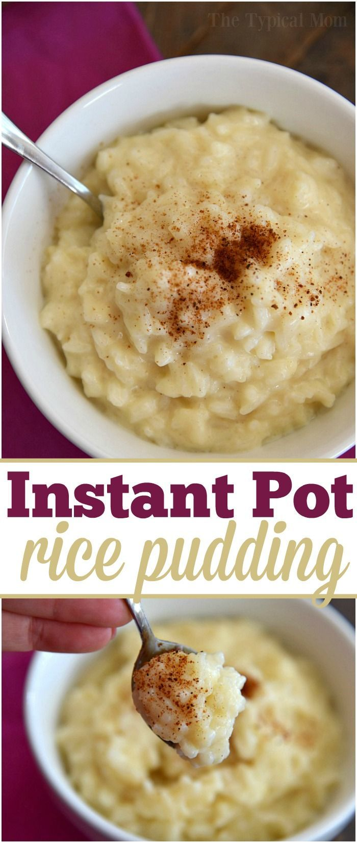The most amazing Instant Pot rice pudding recipe that takes just 10 minutes and is the best dessert ever! Just 4 ingredients and great either warm or cold. via /thetypicalmom/