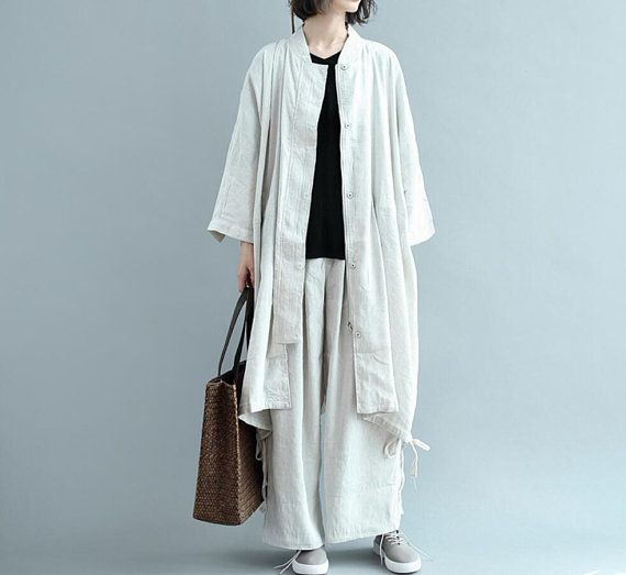 Loose long large size shirt Beige oversized Striped gown
