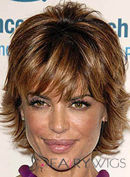 Lisa Rinna Short Wavy Capless Remy Hair Wigs