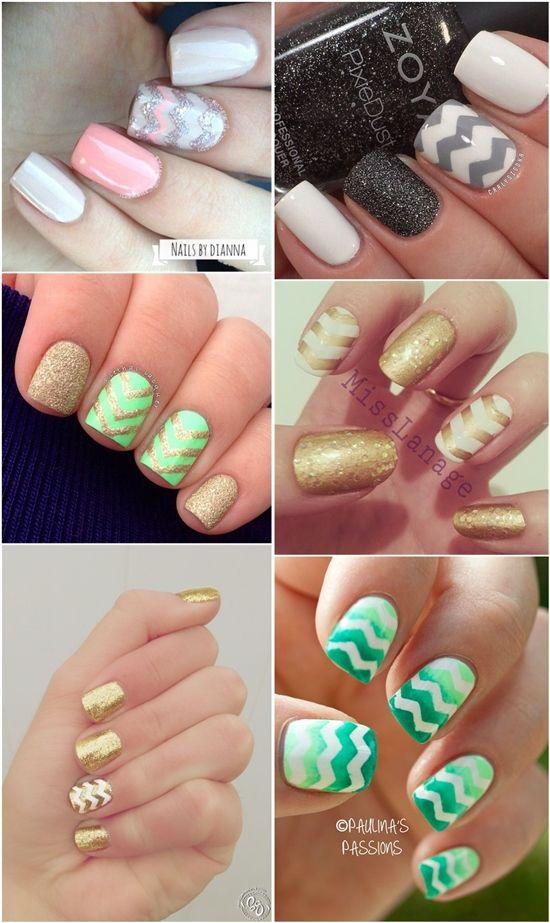 Pretty Chevron Nail Art Designs