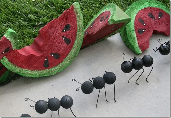 Wooden watermelon slices and golf ball ants