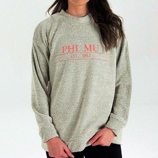 Phi Mu Sorority Sweatshirt Woolly: $65.00. Great Greek Gift. Reverse loop trademark material. Natural Oatmeal Color.